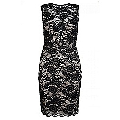 Quiz - Black And Stone Lace Sweetheart Neck Midi Dress
