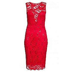 Quiz - Red Lace Sweetheart Neck Midi Dress