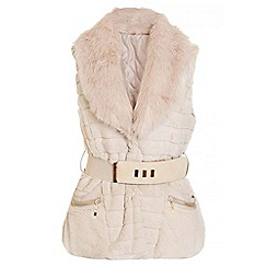 Quiz - Stone Faux Fur Belt Detail Gilet