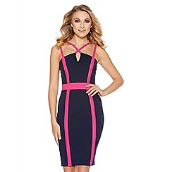Quiz - Navy And Pink Contrast Double Strap Midi Dress