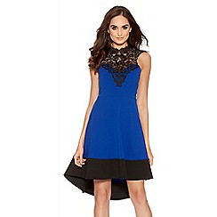 Quiz - Royal Blue And Black Crochet Detail Dip Hem Dress