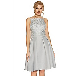 Quiz - Silver sequin embellished high neck short dress