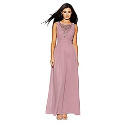 Quiz - Mauve chiffon diamante embelished v neck maxi dress