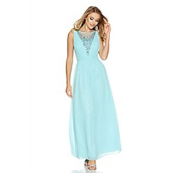 Quiz - Aqua chiffon diamante embellished v neck maxi dress