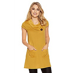 Quiz - Mustard Light Knit Button Detail Tunic Dress