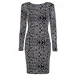 Quiz - Black And Silver Glitter Print Long Sleeve Dress