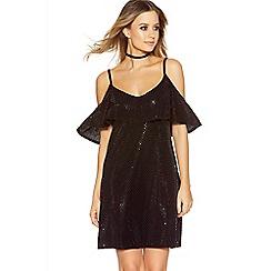 Quiz - Black Diamond Shimmer Print Cold Shoulder Dress