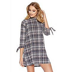Quiz - Grey Check Print High Neck Tunic Dress