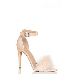 Quiz - Nude PU Feather Detail Heeled Sandals