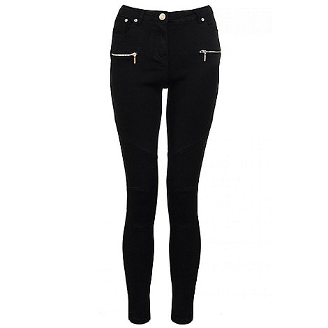 Quiz - Black Zip Detail Biker Style Skinny Jeans