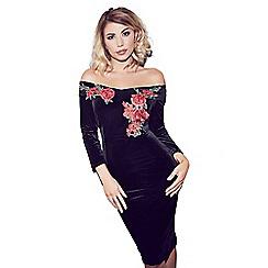 Quiz - Olivia's black velvet embroidered bardot midi dress