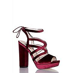 Quiz - Wine velvet tie back platform heels
