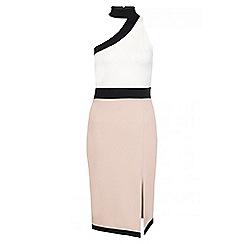 Quiz - Cream Stone And Black One Shoulder Midi Dress