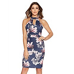 Quiz - Navy And Pink Floral Print Cut Out Midi Dress