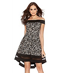 Quiz - Black And Stone Flock Print Contrast Bardot Skater Dress