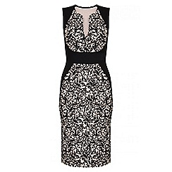 Quiz - Black And Stone Flock Print Contrast Midi Dress