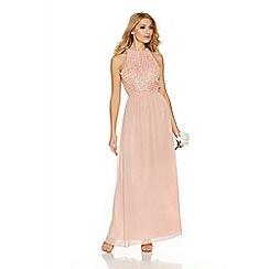 Quiz - Peach chiffon pearl high neck maxi dress