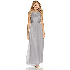 Quiz - Grey chiffon pearl high neck maxi dress