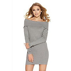 Quiz - Grey Studded Bardot Jumper Dress