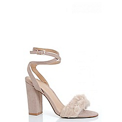 Quiz - Nude Faux Fur Detail Block Heel Sandals