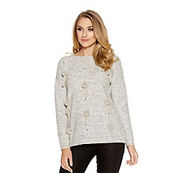 Quiz - Light Grey Knitted Pom Pom Jumper