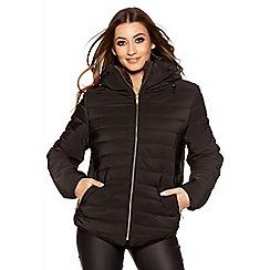 Quiz - Black Padded Faux Fur Collar Zip Jacket