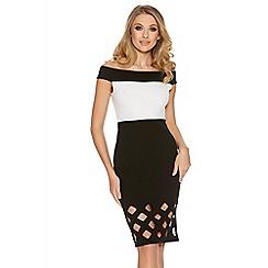 Quiz - Cream And Black Bardot Laser Cut Midi Dress