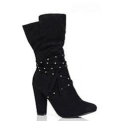Quiz - Black Studded Strap Heel Calf Boots