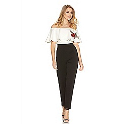 Quiz - Black And Cream Frill Detail Embroidered Jumpsuit