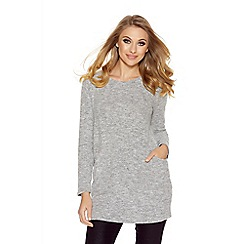 Quiz - Grey Light Knit Pocket Detail Tunic Dress