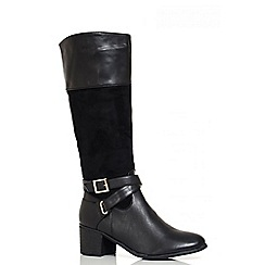 Quiz - Black Buckle Calf Boots