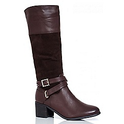 Quiz - Brown Buckle Calf Boots