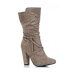 Quiz - Taupe studded strap heel calf boots