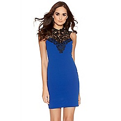 Quiz - Royal Blue And Black Crochet Detail Bodycon Dress