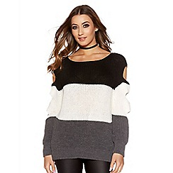 Quiz - Black And Grey Cut Out Sleeve Jumper