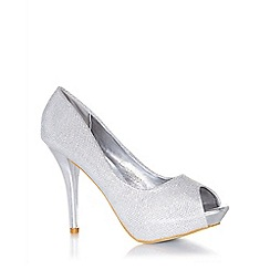 Quiz - Silver shimmer peep toe court shoes