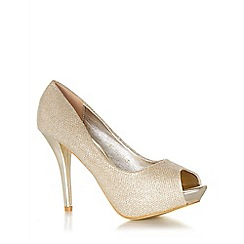 Quiz - Gold shimmer peep toe court shoes