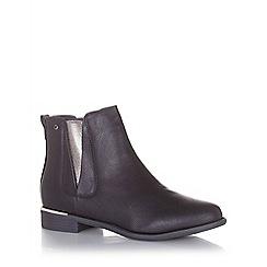 Quiz - Black shimmer panel gold trim ankle boots