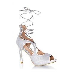 Quiz - Silver shimmer ankle tie peep toe heels