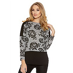 Quiz - Grey and black contrast flower print knitted top