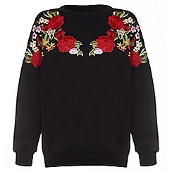 Quiz - Black and red flower embroidered jumper