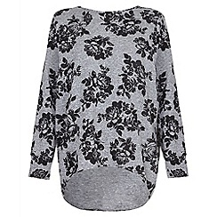 Quiz - Grey and black flower print knitted top