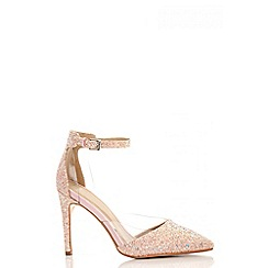 Quiz - Pink glitter perspex court shoes