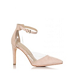 Quiz - Nude faux suede perspex court shoes