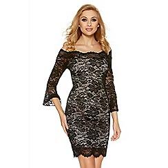 Quiz - Black lace bell sleeve bardot dress