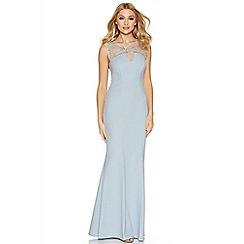 Quiz - Pale blue crepe diamante keyhole dress