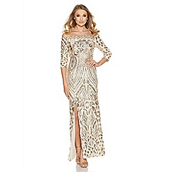 Quiz - Champagne sequin bardot fishtail maxi dress