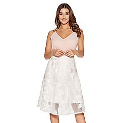 Quiz - White mesh applique flare midi skirt