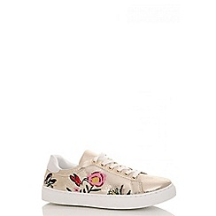 Quiz - Gold shimmer flower embroidered trainers