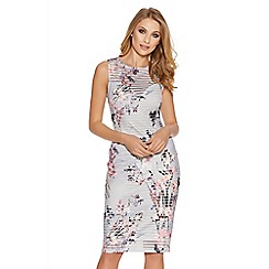 Quiz - Grey and pink flower print stripe midi dress